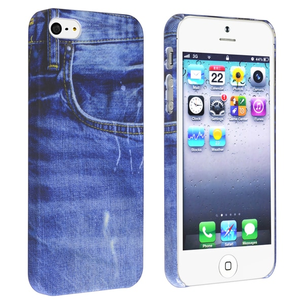 INSTEN Blue Jean Rear Snap-on Rubber Phone Case Cover for Apple iPhone 5/ 5S