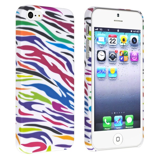 BasAcc White/ Colorful Zebra Snap-on Rubber Case for Apple® iPhone 5