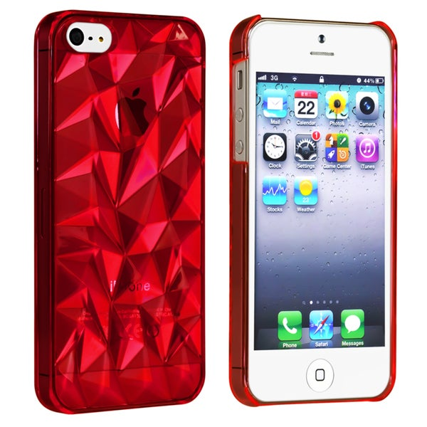 BasAcc Clear Red Diamond Cut Snap-on Case for Apple® iPhone 5