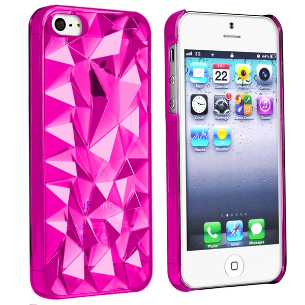 BasAcc Clear Hot Pink Diamond Cut Snap-on Case for Apple® iPhone 5