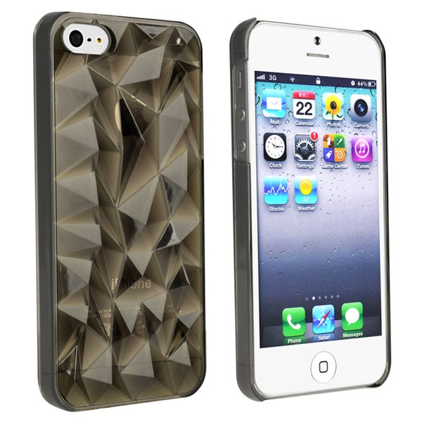 INSTEN Clear Smoke Diamond Cut Snap-on Phone Case Cover for Apple iPhone 5