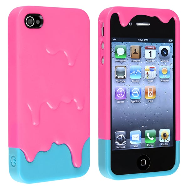 BasAcc Pink/ Blue Ice Cream Snap-on Case for Apple iPhone 4/ 4S