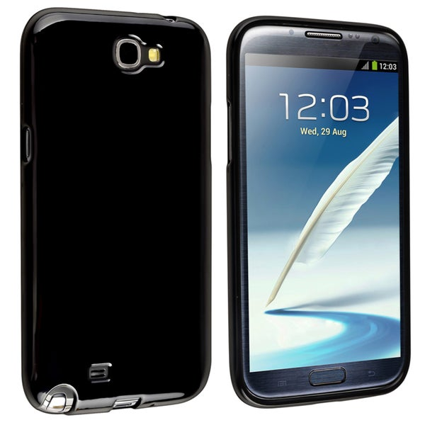 INSTEN Black TPU Phone Case Cover for Samsung Galaxy Note II N7100