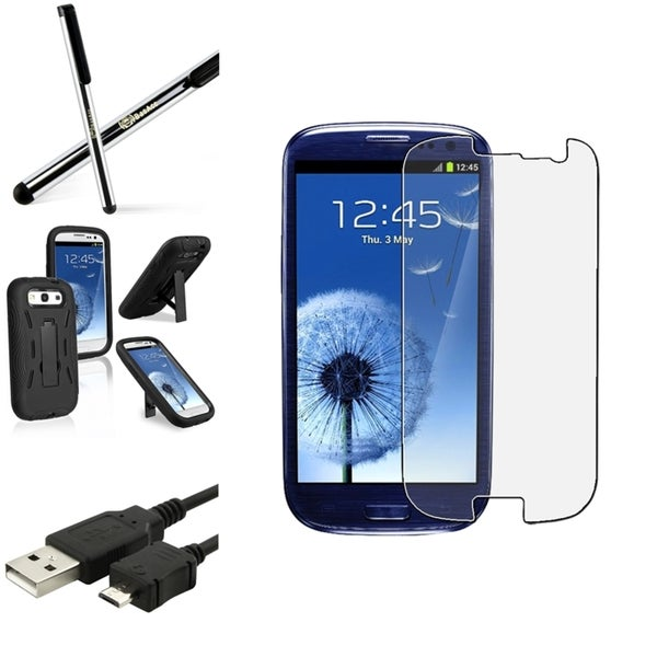 BasAcc Case with Stand/Screen Protector/Stylus for Samsung Galaxy S3