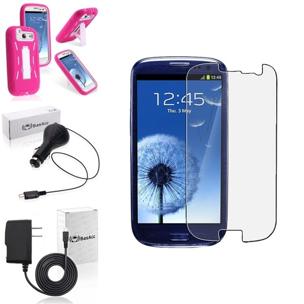 BasAcc Pink Case with Stand/Screen Protector/Chargers for Samsung Galaxy S3