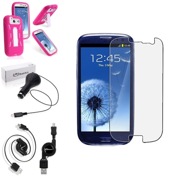 BasAcc Hot Pink Case/Screen Protector/Charger for Samsung Galaxy S3