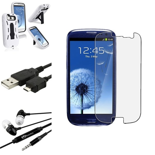 BasAcc White Case with Stand/Screen Protector/Headset for Samsung Galaxy S3