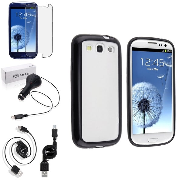 BasAcc Black Trim Case/Anti-Glare Screen Protector/Charger for Samsung Galaxy S3