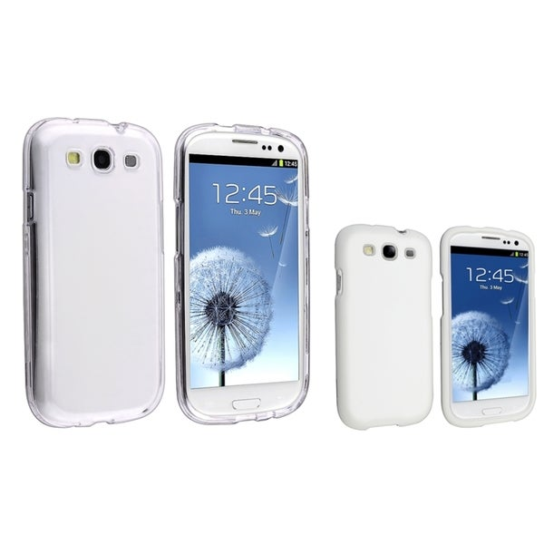 INSTEN Crystal Phone Case Cover/ White Snap-on Phone Case Cover for Samsung Galaxy S III/ S3