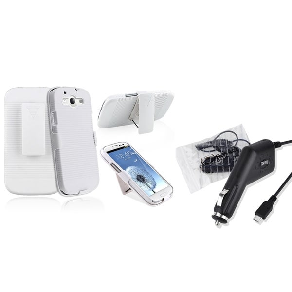 BasAcc Holster with Stand/ Car Charger for Samsung Galaxy S III/ S3