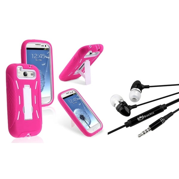 BasAcc White/ Pink Hybrid Case/ Headset for Samsung Galaxy S3/ S III