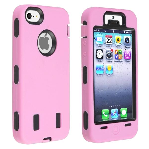INSTEN Black Hard Plastic/ Light Pink Skin Hybrid Phone Case Cover for Apple iPhone 5