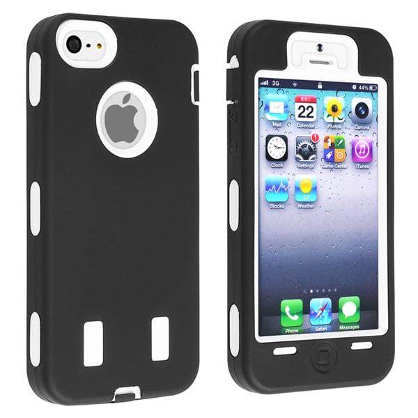 BasAcc White Hard/ Black Skin Hybrid Case for Apple iPhone 5