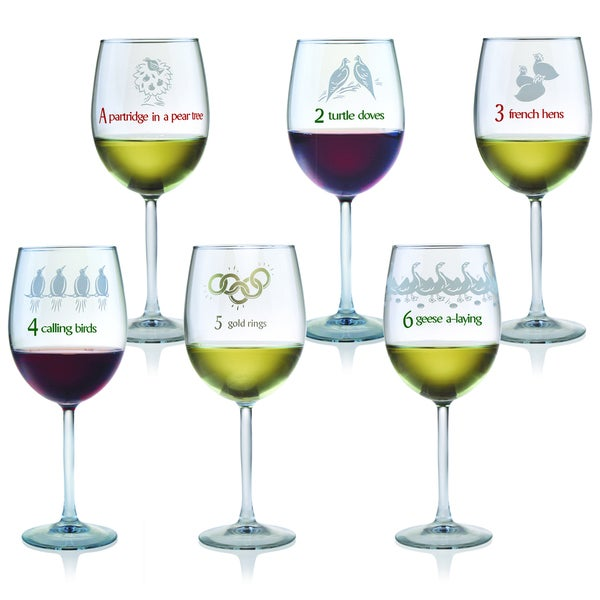 12 days of christmas all purpose wine glasses set of 12