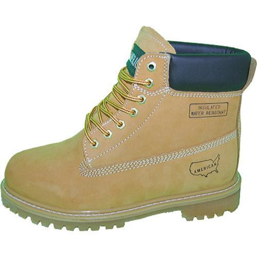 Men's American Rugged Wear 6in Steel Toe Leather Work Boot Wheat Leather - Thumbnail 1