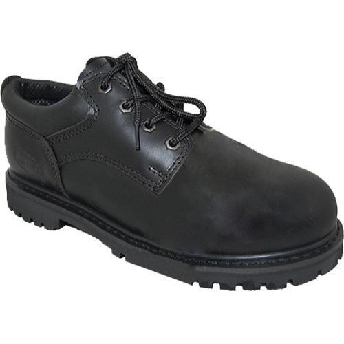 Men's American Rugged Wear Leather Steel Toe Oxford Black Leather