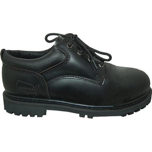 Men's American Rugged Wear Leather Steel Toe Oxford Black Leather - Thumbnail 1