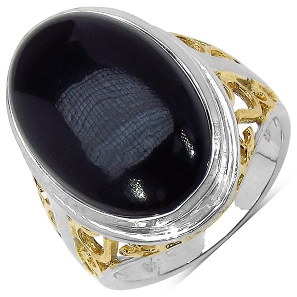 Malaika Sterling Silver 10 7/8ct TGW Black Onyx Ring