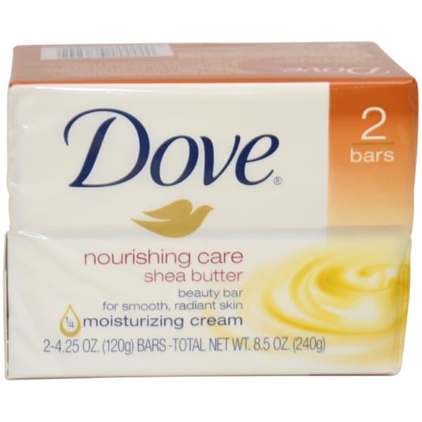 Dove Nourishing Care Shea Butter Moisturizing Cream Beauty Bar (Pack of 2)