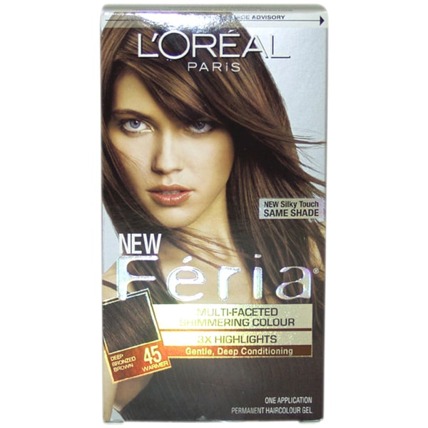 L'Oreal Feria Multi-Faceted Shimmering #45 Deep Bronzed Brown-Warmer Hair Color