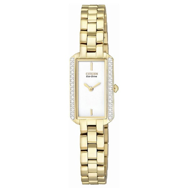 Citizen Women's Eco-Drive Silhouette Gold Crystal Watch