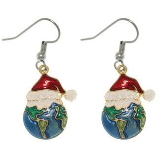 Pewter Holiday Joy to the Earth Earrings