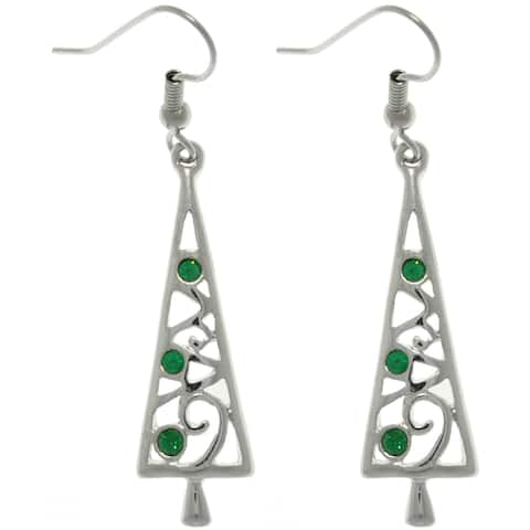 Pewter Green Crystal Holiday Tree Earrings