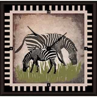 Ankan 'Vintage Zebras' Framed Clock Art