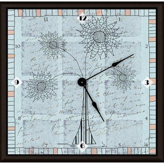 Ankan 'Outline Floral Blue' Framed Clock Art