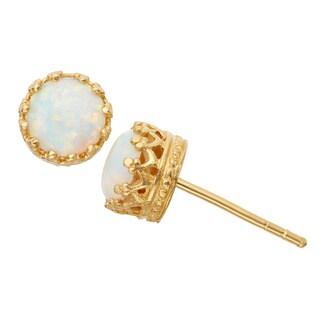 Gioelli Gold-over-Silver 6-mm Crown-Set Created Gemstone Stud Earrings