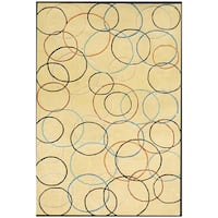 Hand-tufted Gold Circle Wool Rug - 5' x 8'