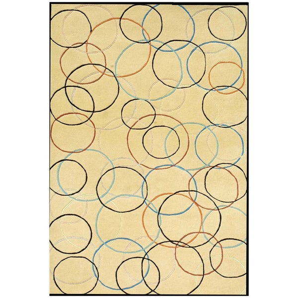 Hand-tufted Gold Circle Wool Rug (5'x8')
