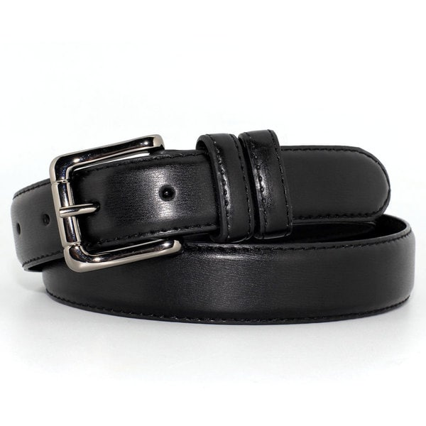 Toneka Men's Faux-Leather Dress Belt with Silvertone Buckle