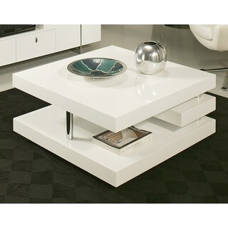Furniture of america helena white and walnut 2 leveled for Furniture of america inomata geometric high gloss coffee table