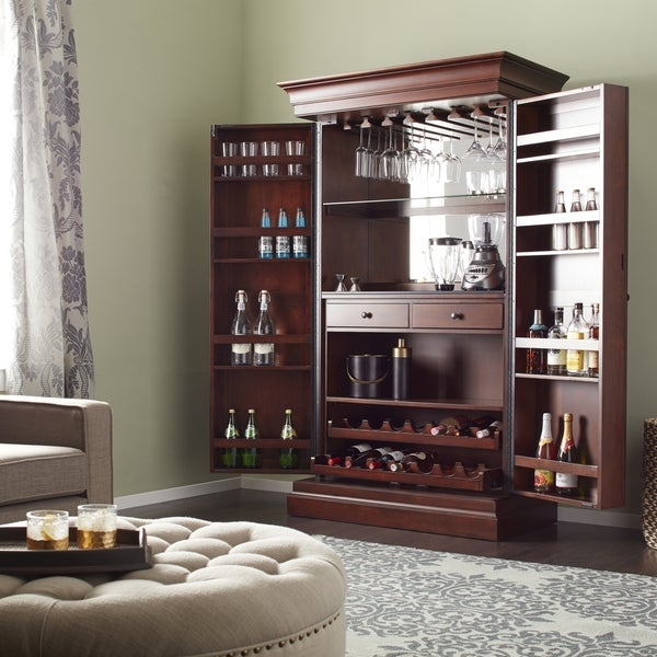 Ashley Heights Cherry Finished Wood Home Bar Wine Cabinet