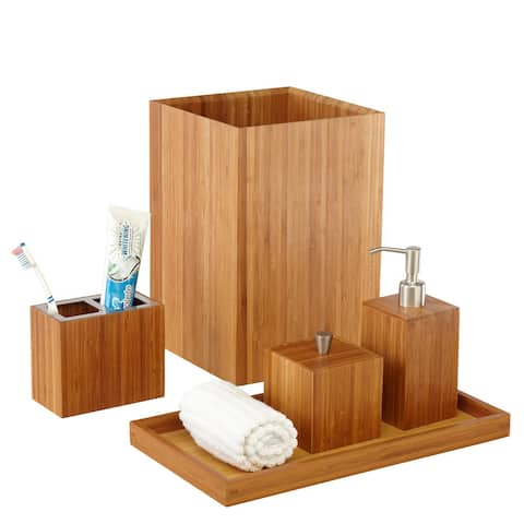Seville Classics 5-Piece Bamboo Bath and Vanity Luxury Bathroom Essentials Accessory