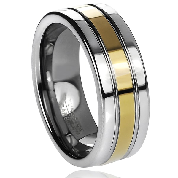 Vance Co. Men's Tungsten Carbide Grooved Goldplated Band (8 mm)