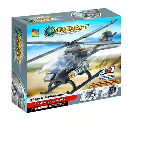 Fun Blocks Military Hawk Helicopter 3-in-1 Brick Set