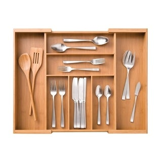 Seville Classics Bamboo Expandable 7-Compartment 2 Adjustable Flatware Utensil Cutlery Drawer Tray
