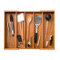 Seville Classics Expandable 5 Large Compartment, 2 Adjustable, Cutlery Drawer Tray Organizer
