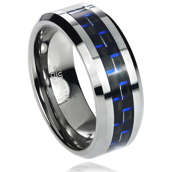 Vance Co. Men's Tungsten Carbide Blue Carbon Fiber Inlay Band (8 mm)