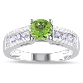 Miadora Sterling Silver Prong-set Peridot and Created White Sapphire Ring