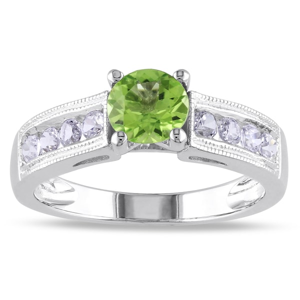 M by Miadora Sterling Silver Prong-set Peridot and Created White Sapphire Ring