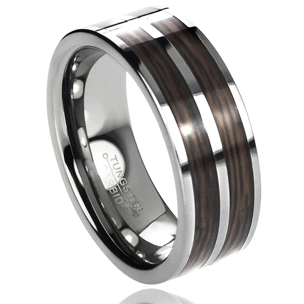 Vance Co. Men's Tungsten Carbide Wood Inlay Band (8 mm)