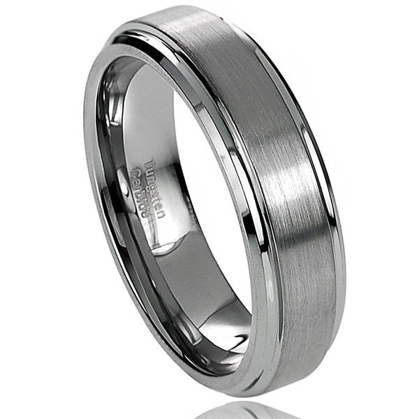 Vance Co. Men's Tungsten Carbide Brushed Center Stepped Edge Band (6 mm)