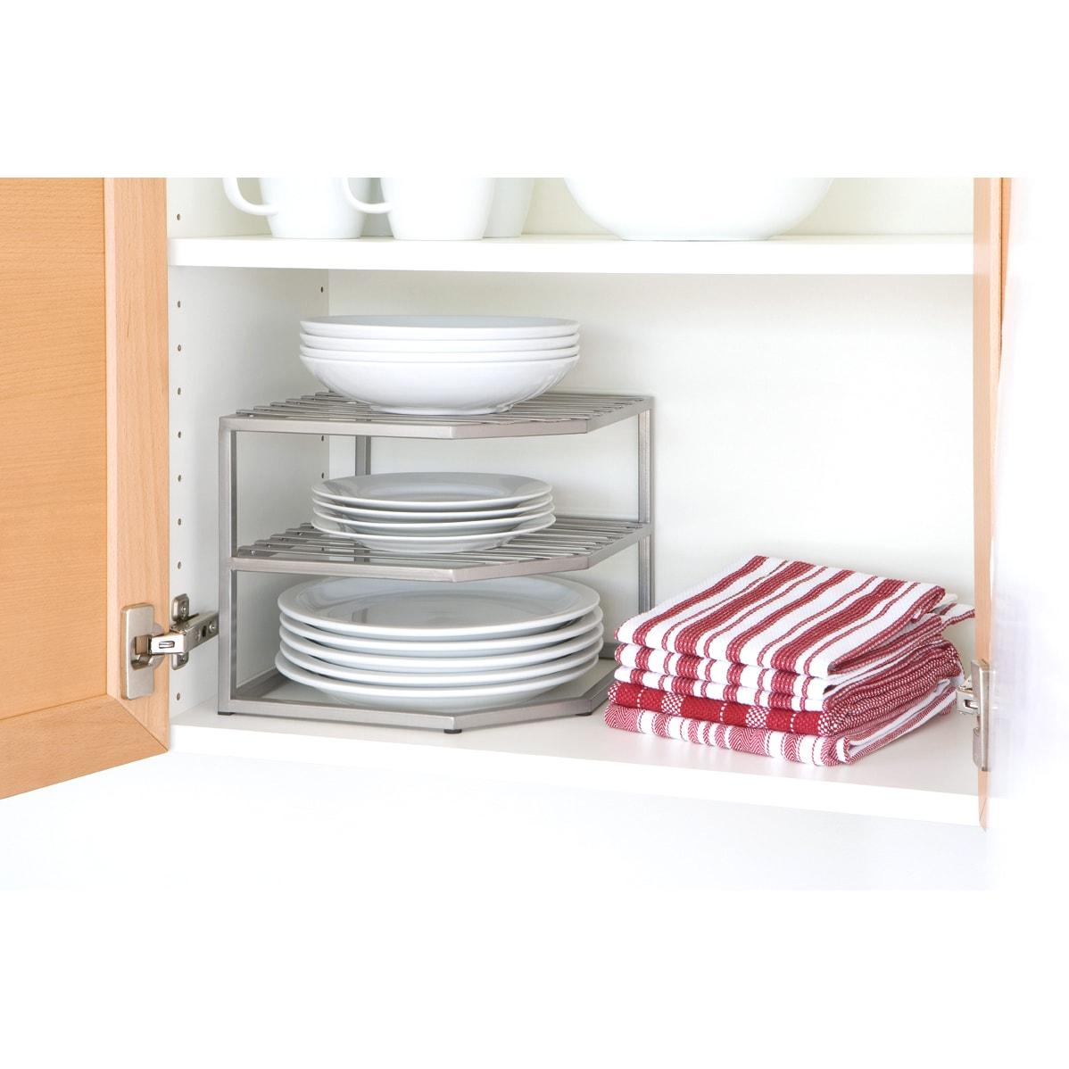Seville Iron 2-tier Corner Cabinet Shelf Organizer (Metal)