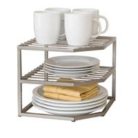 2-Tier Iron Corner Shelf Kitchen Cabinet Organizer