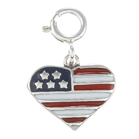 Sterling Silver Red, White and Blue Enamel Flag in Heart Charm