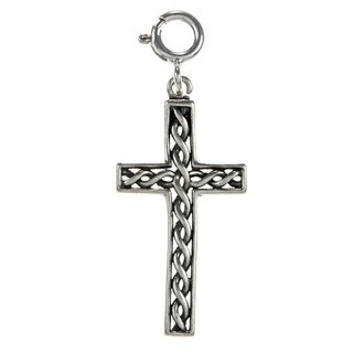 Sterling Silver Braided Trim Cross Charm