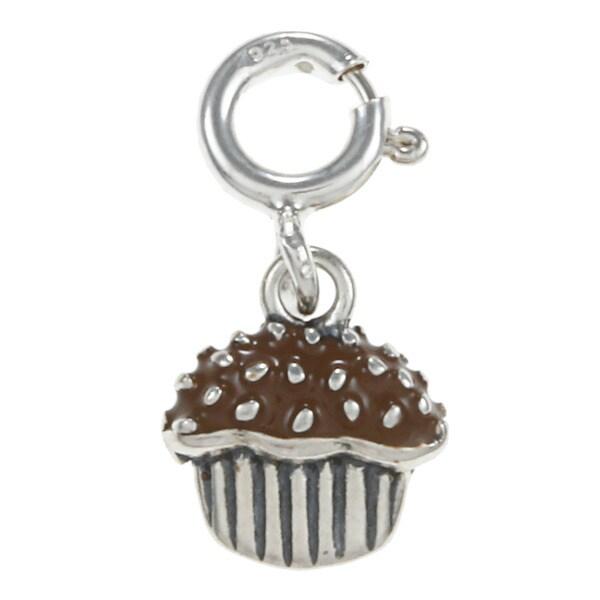 Sterling Silver Brown Enamel Cupcake Charm
